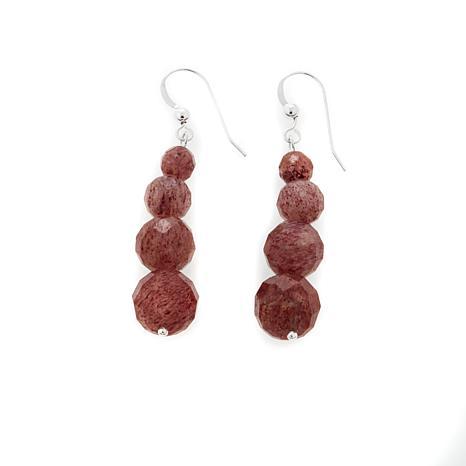 Jay King African Strawberry Quartz Bead Drop Earrings