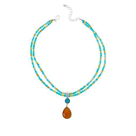 Jay King Amazonite and Orange Opal Pendant with Double-Strand Necklace