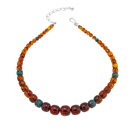 "Jay King Amber Nugget 18"" Necklace with Hubei Turquoise Accents"