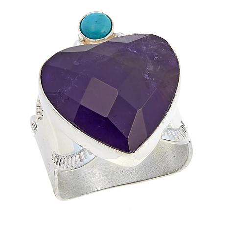 Jay King Amethyst and Andean Blue Turquoise Heart Ring