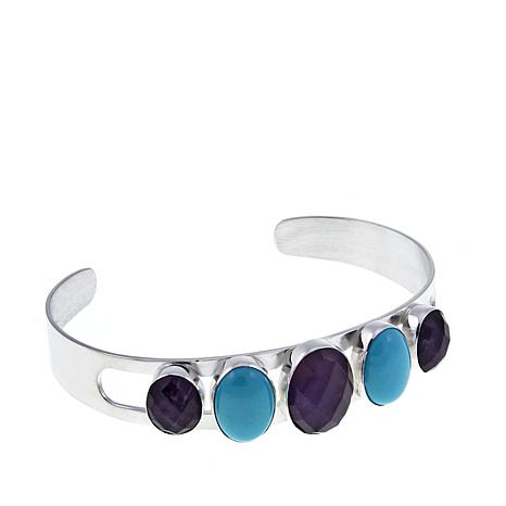 Jay King Amethyst and Turquoise Sterling Silver Cuff Bracelet