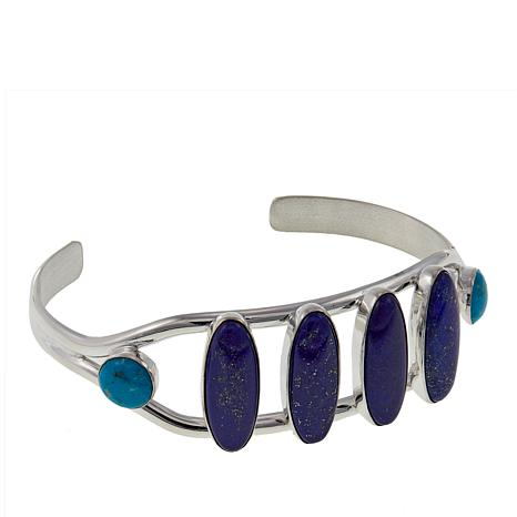 Jay King Andean Blue Turquoise and Lapis Sterling Silver Cuff Bracelet