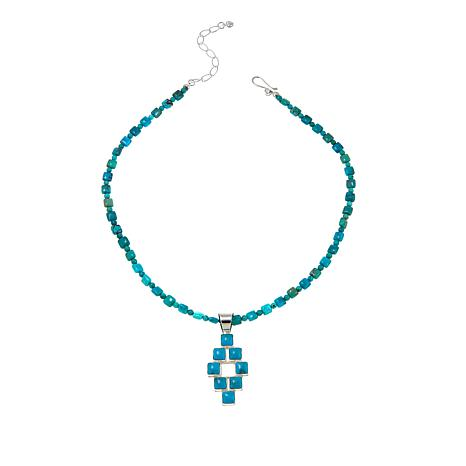 Jay King Andean Blue Turquoise Sterling Silver Pendant with Necklace