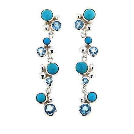 Jay King Angel Peak Turquoise and Blue Topaz Dangle Earrings