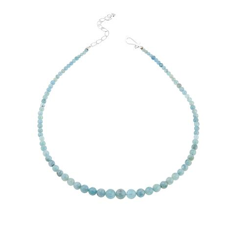 "Jay King Aquamarine Bead Sterling Silver 20"" Necklace"