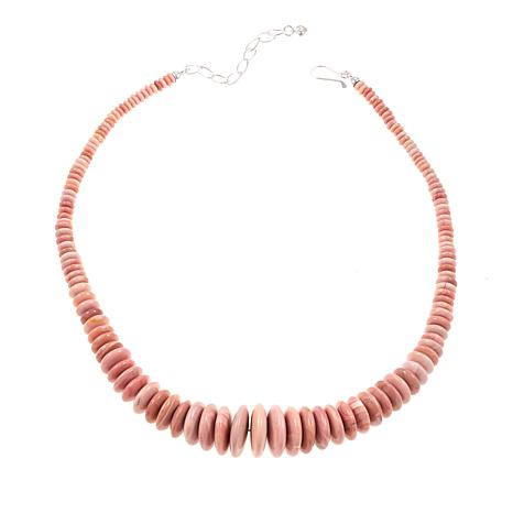 "Jay King Australian Pink Opal Bead 18"" Sterling Silver Necklace"
