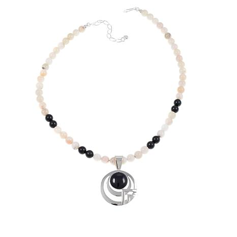"Jay King Black Viviante and White Opal Pendant with 18-1/2"" Necklace"