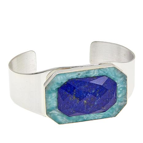 Jay King Blue Aragonite and Lapis Sterling Silver Cuff Bracelet