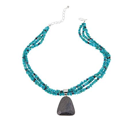 "Jay King Blue-Gray Corundum Pendant with 18"" Necklace"