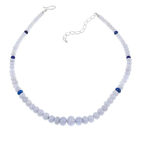 "Jay King Blue Lace Agate and Lapis Bead 18"" Sterling Silver Necklace"