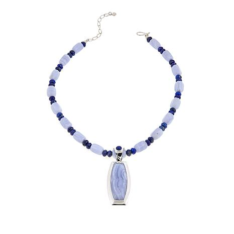"Jay King Blue Lace Agate & Lapis Pendant with 18-1/2"" Beaded Necklace"