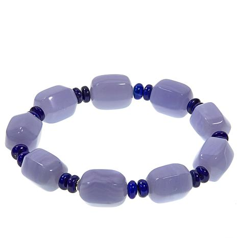 Jay King Blue Lace Agate and Lapis Stretch Bracelet