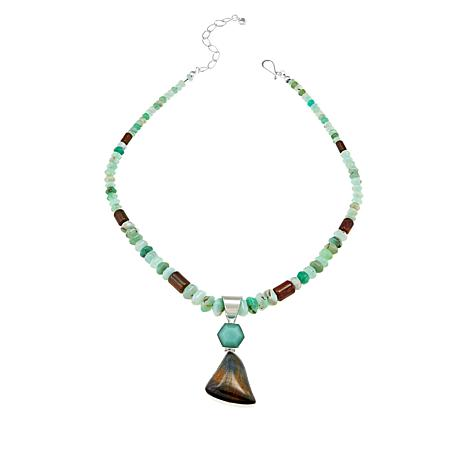 """Jay King Brockman Jasper and Chrysoprase Pendant with 18"""" Necklace"""