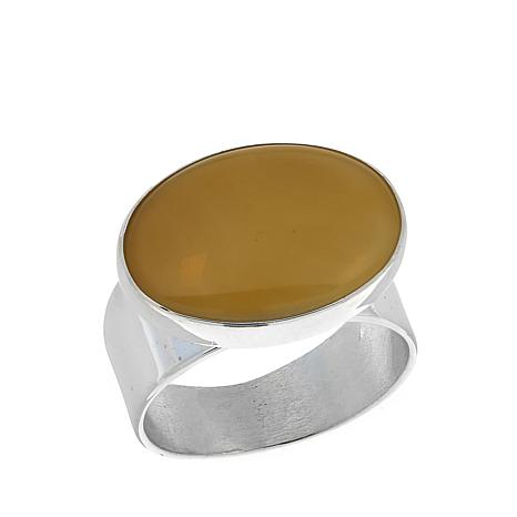 Jay King Butterscotch Amber Sterling Silver Ring
