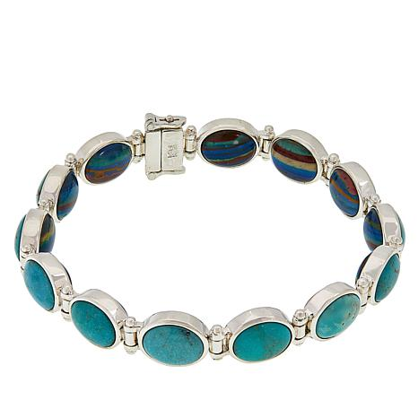 Jay King Calsilica and Turquoise Reversible Link Bracelet