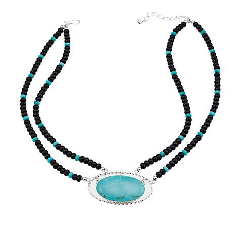 """Jay King Campitos Turquoise and Black Agate Bead 18-1/4"""" Necklace"""