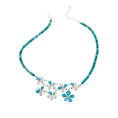 "Jay King Campitos Turquoise Beaded Flower-Design 21"" Necklace"