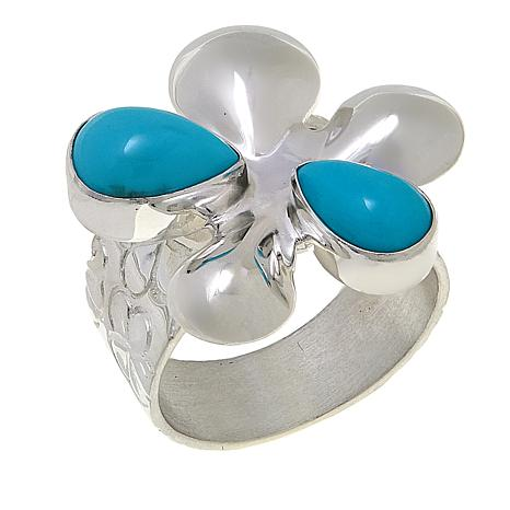 Jay King Campitos Turquoise Sterling Silver Flower-Design Ring