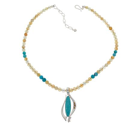 Jay King Campo Frio Turquoise and Citrine Pendant with Beaded Necklace
