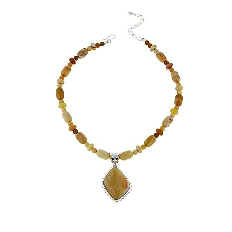 "Jay King Caramel Gobi Opal Pendant with 18"" Bead Necklace"