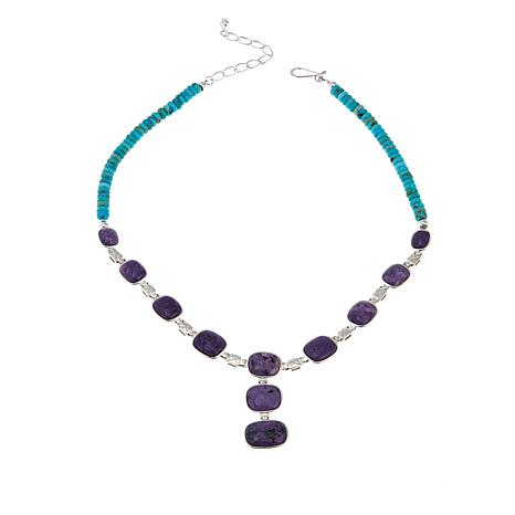 "Jay King Charoite and Turquoise 18"" Sterling Silver Necklace"