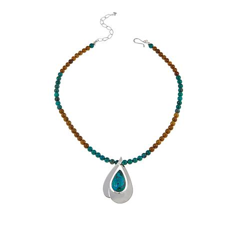 """Jay King Chrysocolla Sterling Silver Pendant with 18"""" Necklace"""