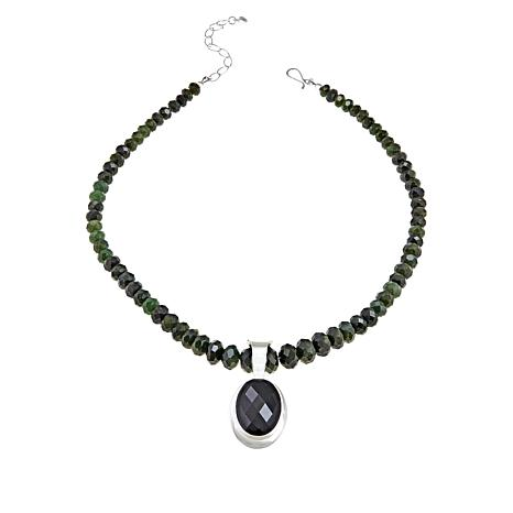 "Jay King Dark Green Nephrite Jade Pendant with 18"" Necklace"