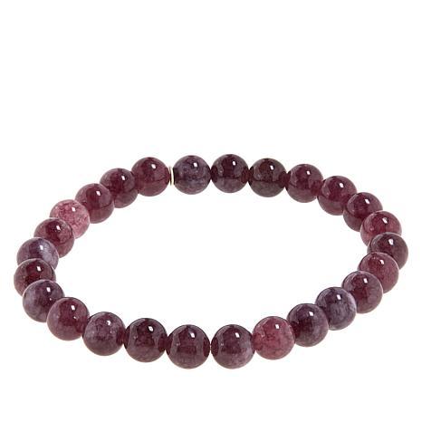 Jay King Dark Pink Lepidolite Bead Stretch Bracelet
