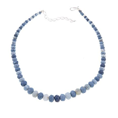 "Jay King Dream Blue Opal Bead 18"" Sterling Silver Necklace"
