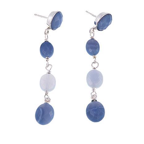 Jay King Dream Blue Opal Multi-Oval Drop Sterling Silver Earrings