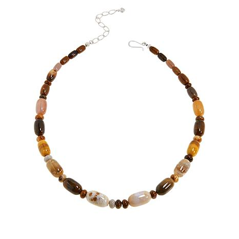 Jay King Ethiopian Autumn Opal in Chalcedony Beaded Necklace