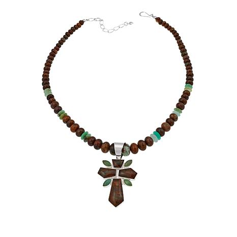 """Jay King Forest Jasper and Chrysoprase Pendant with 18"""" Necklace"""