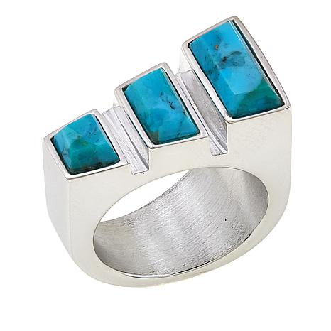 Jay King Freeform Kingman Cinnamon Bay Turquoise Slanted Ring