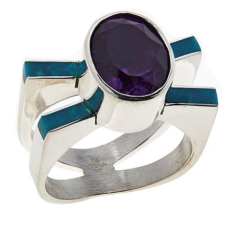 Jay King Gallery Collection Amethyst and Sonoran Blue Turquoise Ring