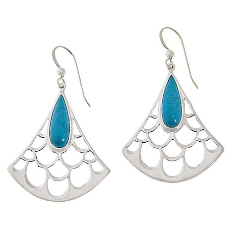 Jay King Gallery Collection Andean Blue Turquoise Fan Drop Earrings