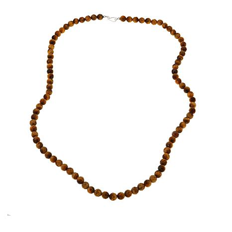 "Jay King Golden Tiger's Eye Bead 36"" Sterling Silver Necklace"