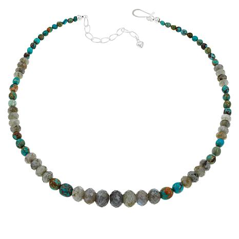 Jay King Graduated Labradorite and Turquoise Bead Necklace