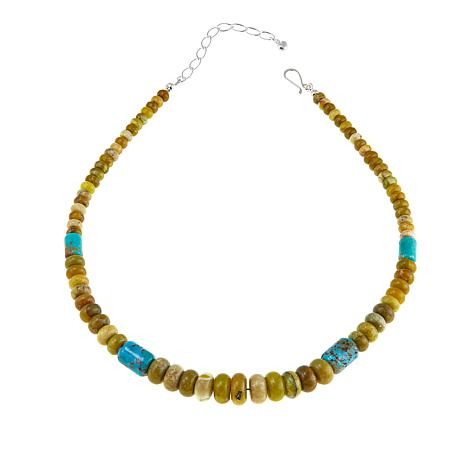 """Jay King Green Opal and Turquoise Bead 18-1/4"""" Necklace"""