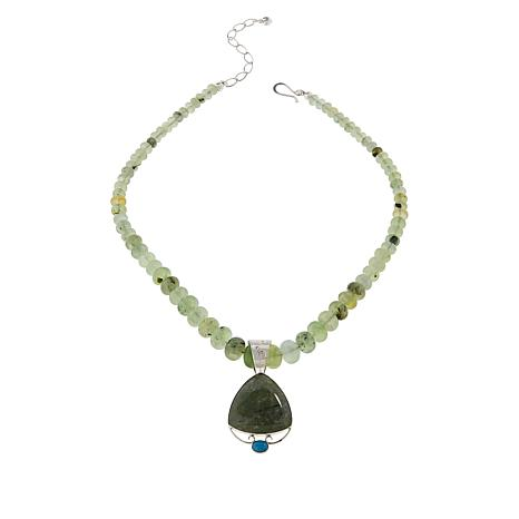 Jay King Green Prehnite and Turquoise Pendant with Beaded Necklace