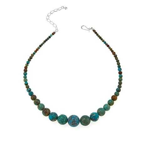 """Jay King Hubei Turquoise Graduated Bead 18"""" Sterling Silver Necklace"""
