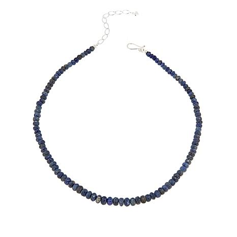 "Jay King Indigo Blue Sapphire Bead Sterling Silver 18-1/4"" Necklace"