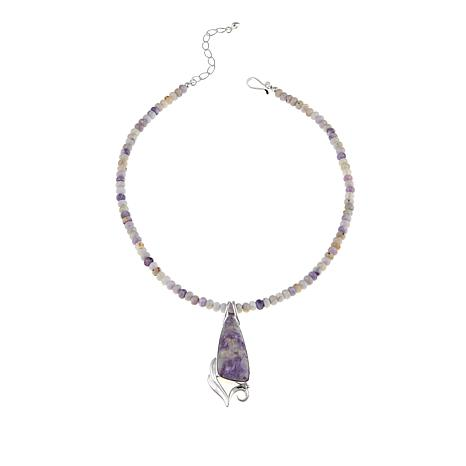 "Jay King Jalisco Lavender Opal Pendant with 18-1/4"" Bead Necklace"