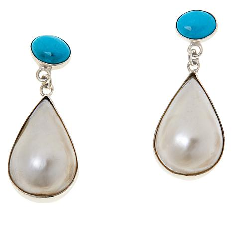 Jay King Kingman Turquoise and Mabé Pearl Drop Earrings