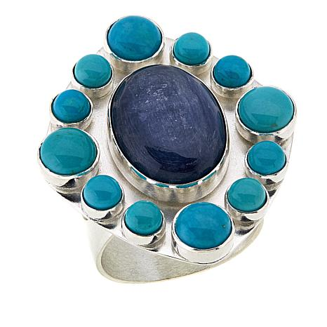 Jay King Kyanite and Andean Blue Turquoise Sterling Silver Ring