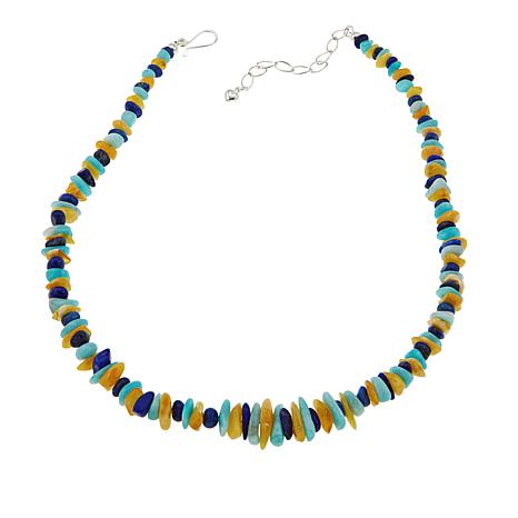 """Jay King Lapis, Amber and Amazonite Bead 18"""" Sterling Silver Necklace"""