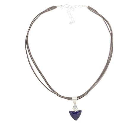 Jay King Lapis and Blue Lace Agate Pendant with Suede Cord Necklace