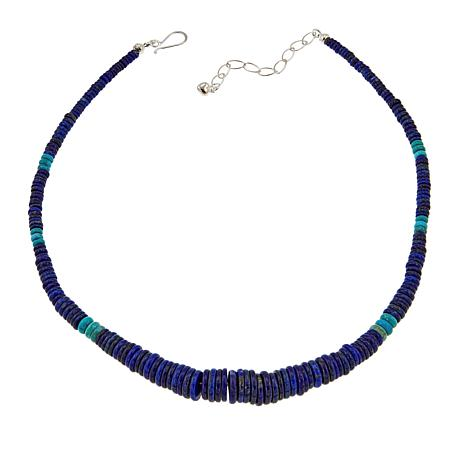 """Jay King Lapis and Turquoise Disc Bead 18"""" Sterling Silver Necklace"""