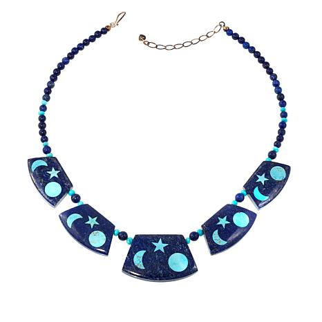 """Jay King Lapis and Turquoise Reversible 20"""" Necklace"""