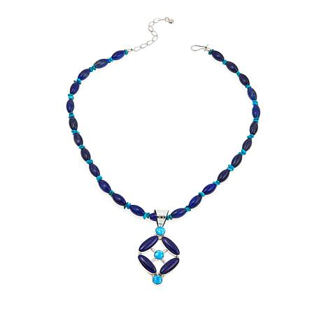 Jay King Lapis and Turquoise Sterling Silver Pendant with Necklace