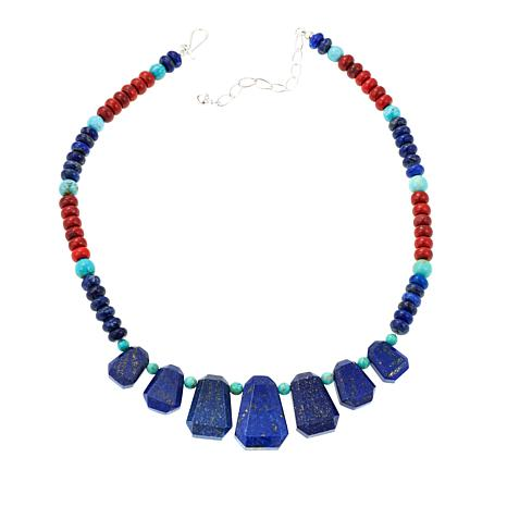 "Jay King Lapis, Coral and Turquoise 18"" Necklace"